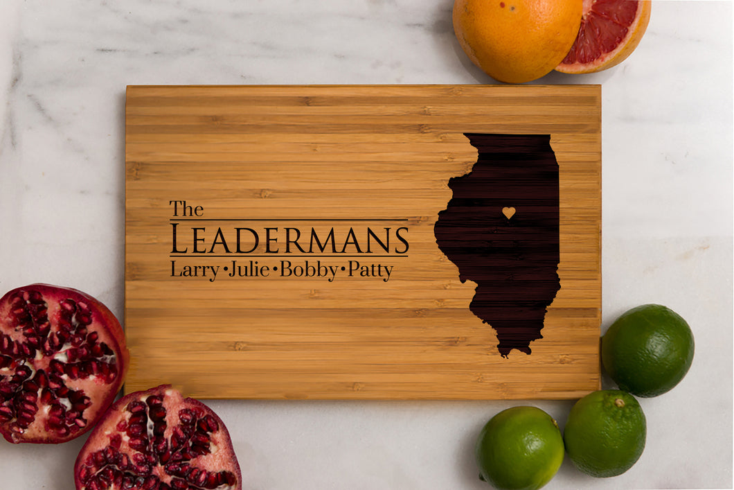 Illinois State Engraved Cutting Board, Personalized