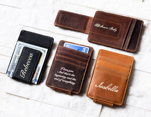Inked Message Magnetic Leather Money Clip in all three colors
