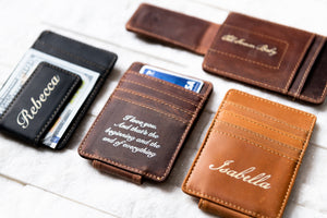 Close-up of Inked Message Magnetic Leather Money Clip in all three colors