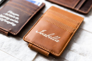 Close-up of Inked Message Magnetic Leather Money Clip in Texas Tan