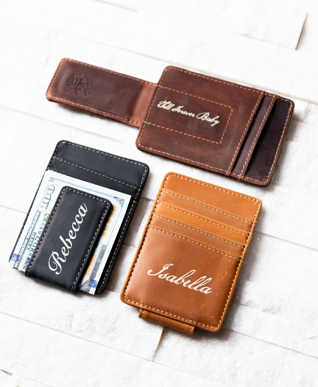 Three Inked Message Magnetic Leather Money Clips