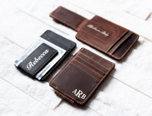 Inked Message Magnetic Leather Money Clip in Bad Guy Black and Saddle Brown