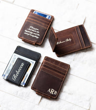 Four Inked Message Magnetic Leather Money Clips at various angles