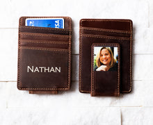 Two Inked Photo Leather Magnetic Money Clips in Saddle Brown