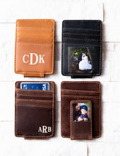 Four Inked Photo Leather Magnetic Money Clips with inked monograms and photos