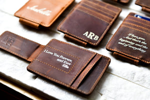Saddle Brown Inked Message Magnetic Leather Money Clips with messages