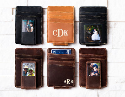 Six Inked Photo Leather Magnetic Money Clips with photos and ink messages