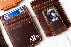 Close up of Saddle Brown Inked Photo Leather Magnetic Money Clip