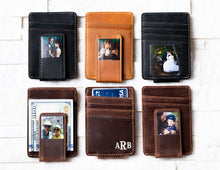 Six Inked Photo Leather Magnetic Money Clips with inked photo and monograms
