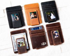 Six Inked Photo Leather Magnetic Money Clips displaying all color options