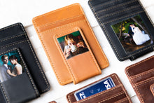 Multiple Inked Photo Leather Magnetic Money Clips with focus on one in Texas Tan