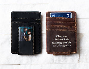 Two Inked Photo Leather Magnetic Money Clips, one Saddle Brown and one Bad Buy Black