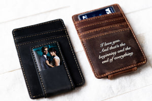 A Saddle Brown and Bad Guy Black Inked Photo Leather Magnetic Money Clip