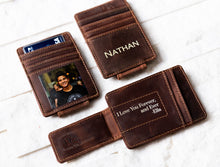 Inked Photo Leather Magnetic Money Clip with photo and inked name and quote
