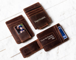 Inked Photo Leather Magnetic Money Clip with inked quote and baby photo