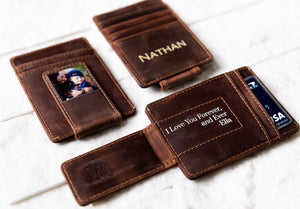 Inked Photo Leather Magnetic Money Clip with inked embellishments and card in holder