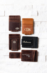 Inked Photo Leather Magnetic Money Clips showing various monogram styles