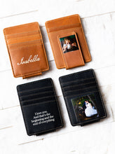 Inked Photo Leather Magnetic Money Clips in Texas Tan and Bad Guy Black also displaying inked name and quote