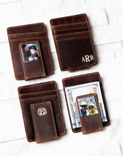 Inked Photo Leather Magnetic Money Clips with inked monogram and money under clip