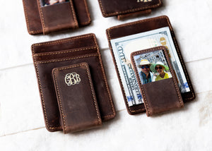 Close-up of Inked Photo Leather Magnetic Money Clip with money under clip