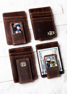 Inked Photo Leather Magnetic Money Clips in Saddle Brown with inked monograms