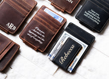 A few Inked Message Magnetic Leather Money Clips with messages