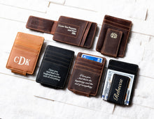 Inked Message Magnetic Leather Money Clips laid out on display