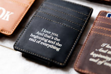 A close-up of the Bad Guy Black Inked Message Magnetic Leather Money Clip