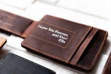 Saddle Brown Inked Message Magnetic Leather Money Clip with inked message under clip