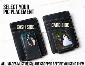 Photo placement options for the Inked Photo Leather Magnetic Money Clip