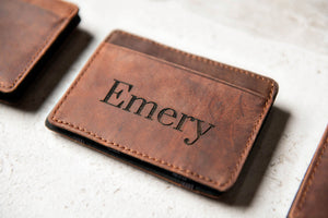 Personalized Distressed Leather Flip Wallet by Left Coast Original