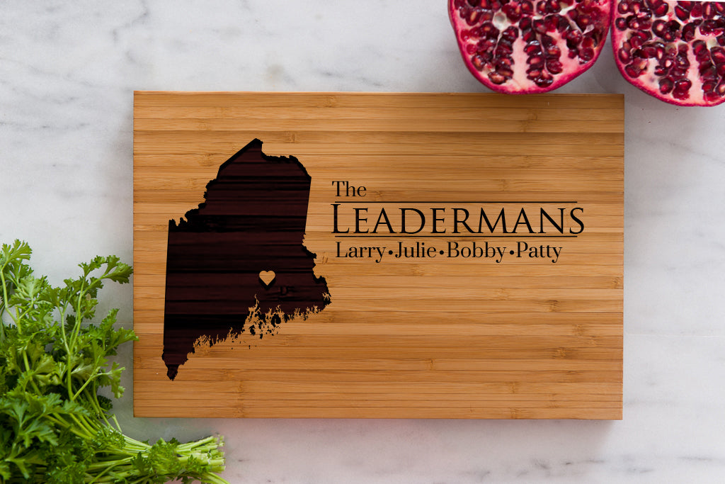 Maine State Engraved Cutting Board, Personalized