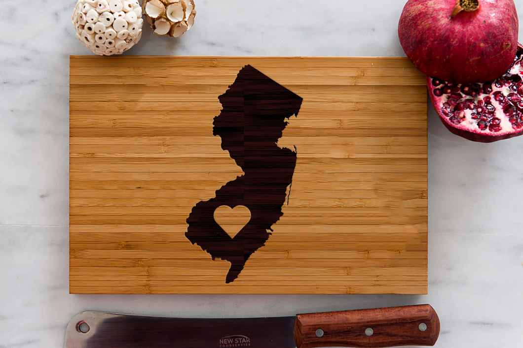 New Jersey State Engraved Cutting Board, Personalized