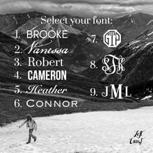 Font option examples for engraving names and monograms