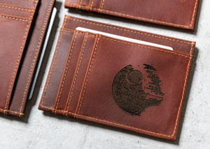 Star Wars Inspired Slim Leather Wallet Personalized With ID Window The Ocala by Left Coast Original