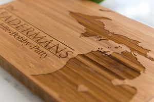 Indiana State Engraved Cutting Board, Personalized