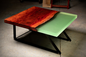 Resin Eucalyptus Slab Coffee Table | Live Edge | | Steel Legs | Semi-Transparent Opal Resin | Cantilever