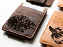 Close-up of Saddle Brown Star Wars Inspired Leather Magnetic Money Clip with Millennium Falcon engraving