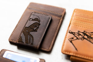 Star Wars Inspired Leather Magnetic Money Clip with Darth Vader engraved on clip