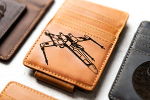 Star Wars Inspired Leather Magnetic Money Clip with X-wing Starfighter engraving