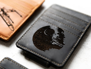 Star Wars Inspired Leather Magnetic Money Clip in Bad Guy Black with Death Star engraving