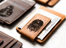 Star Wars Inspired Leather Magnetic Money Clip with Chewbacca engraving