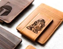 Star Wars Inspired Leather Magnetic Money Clip with R2-D2 engraving
