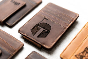 Star Wars Inspired Leather Magnetic Money Clip with Boba Fett engraving