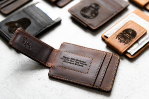 Star Wars Inspired Leather Magnetic Money Clip with engraved message under clip