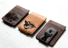 Star Wars Inspired Leather Magnetic Money Clip with Yoda and other engravings