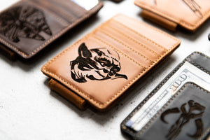 Close-up of Texas Tan Star Wars Inspired Leather Magnetic Money Clip with Yoda engraving