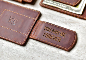 Close-up of the Super Slim Personalized Leather Magnetic Money Clip with clip engraving