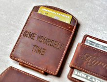 Close-up of the Super Slim Personalized Leather Magnetic Money Clip with engraving