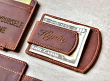 Engraved Super Slim Personalized Leather Magnetic Money Clip with money under clip